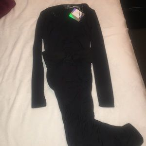 MISSGUIDED BLACK PLUNGE CORSET DRESS MIDI